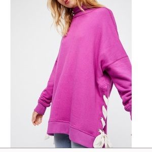 NWT FREE PEOPLE SO PLUSH LACE UP PULLOVER